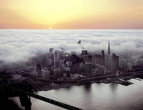 Foggy Sunset, San Francisco, California