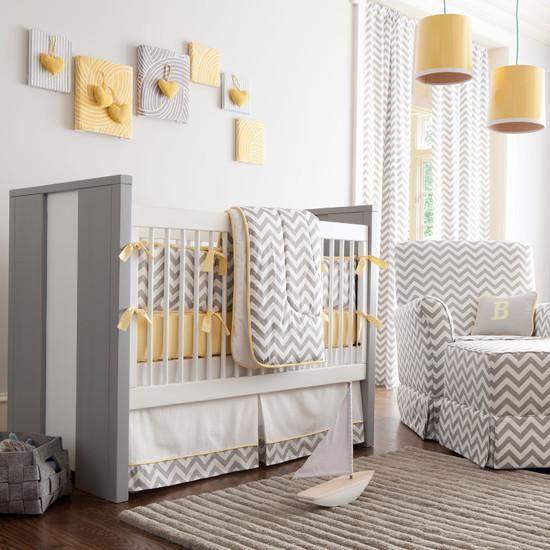 Gray And Yellow Chevron Crib Bedding (Atlanta)