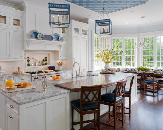 Traditional White And Blue Kitchen (New York)